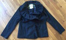 MILLY dark green ruffle front collar hook wool coat blazer Sz 8 medium m