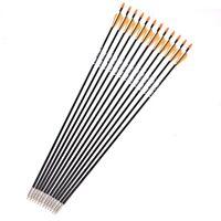 12pcs 31'' Fiberglass Target Arrow Orange Plastic Feather Spine Shooting Practic