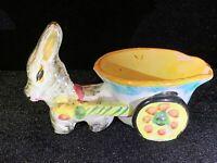 "Vintage Italian Donkey Pulling Cart Planter MAJOLICA Ceramic Hand Painted5"""
