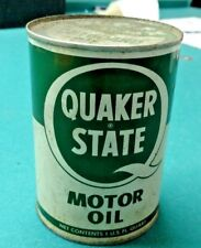 Vintage, QUAKER STATE, metal outboard oil can, quart full
