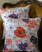 Floral Cushion Cover: Cotton Vintage Style White Kantha Sofa Pillow Throw Decor