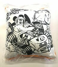 "Disney Mickey Race Car - Black/White, Orange Pillow 15"" x 15"""