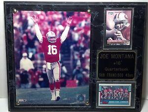 1999 S.F. 49er Joe Montana plaque marbelized look wood