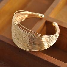 Gold Cuff Bracelet Luxury Open Wide Upper Arm Metal Bangle Women Fashion Jewelry