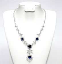 """BRIDAL SAPPHIRE & CLEAR CZ BRIDAL-STRAND NECKLACE&EARRING SET 18"""""""