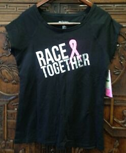 New Ideology Women's Race Together Pink-Ribbon Tee, Black, Large