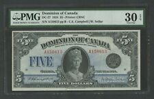 CANADA #DC-27 $5 1924 QUEEN MARY NOTE PMG 30 EPQ CHOICE VF+ WLM8979