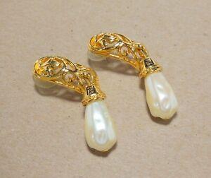 Large VTG Signed FENDI Logo Dangling Faux Pearl Drop Gold Tone Pierced Earrings