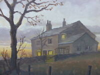 OIL HILLSIDE COTTAGE HARWOOD  LISTED ARTIST BRIAN BARLOW FREE SHIPPING ENGLAND