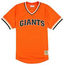 MITCHELL & NESS San Francisco Giants Mesh V-Neck Jersey sz L Large Orange MLB