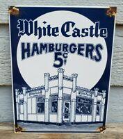 """VINTAGE WHITE CASTLE HAMBURGERS 5 CENTS 12"""" PORCELAIN METAL GASOLINE & OIL SIGN!"""