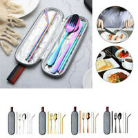 7Pcs Stainless Steel Tableware Dinnerware Cutlery Tools Set Travel Camp Portable
