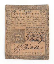 1772 Pennsylvania One Shilling Colonial Currency No.2465