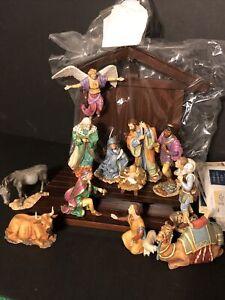 The Nativity 15 Pc Set Gianni Benvenuti Franklin Mint w manger Czech