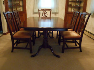 Ethan Allen Dining Room Table 6 Chairs 2 Leaves Chippendale new condition wpads
