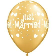 "JUST MARRIED Gold Hearts 11"" Latex Balloons (6 Pack)"