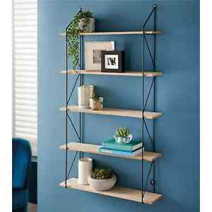 5 Tier Metal Wire Black/White/Gold Wall Floating Shelf Display Storage Shelves