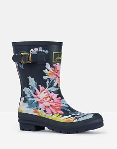 Joules Womens Molly Welly Mid Height Printed Welly - Navy Whitstable Floral
