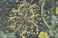 "WILLIAM MORRIS CURTAIN FABRIC DESIGN ""Seaweed"" 3 METRES YELLOW/GREY 100% COTTON"