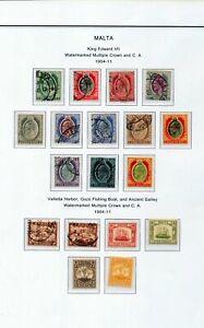 MALTA 1904/11 M&U To 5/- (18 Items)ZA 92