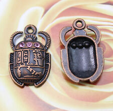 10 pcs Retro Egyptian civilization beetle pink crystal alloy Charm Pendants