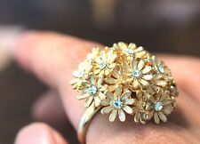 Larger Bouquet Ring floral Flower Love Wedding Marriage Bridesmaid Gold Plate