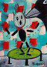 ACEO ORIGINAL Painting~CROW SHOCKED~GIRL~FIGURATIVE~OUTSIDER FOLK~SMOODY