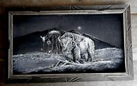 Vintage Buffalo Picture Velvet Wall Framed Mexico Kitsch Used Mexico apx 23 x 14