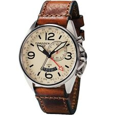 New Torgoen Swiss T30 Men's Quartz 45mm Case Cream Face Alarm / GMT Pilot Watch