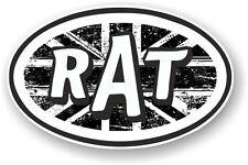 Oval Retro RAT Ratlook B&W Union Jack Flag STP Style Vinyl car sticker Decal