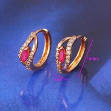 18k ct Rose Gold GF Elegant Hoops rhinestone zircon Earring