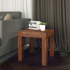 Idris, Wood Accent End Table in 2 Colours - Dark Sheesham or Grey Finish