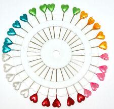 30 x Sewing Dressmaking Heart Pearl Head Pins - X Long