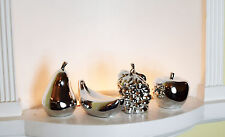 ITALIAN 4 PIECES SILVER FRUITS BANANA APPLE PEAR FIGURINE HOME DECOR ORNAMENT
