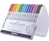 Zebra Mildliner Double-Ended Highlighter Marker Set, 15 Assorted Colors