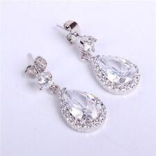 Elegant Swaroski  Elements White Gold Finished Tear Drop CZ Earrings