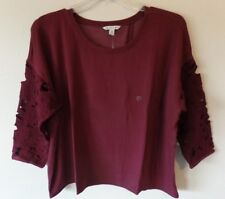 AE American Eagle Womens XXL Open Back Laced Sleeve Burgandy Soft Shirt Top