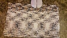 "Cotton Bathmat Brown and White Hand Crochet  Handmade 18"" X 28"" Bathroom"