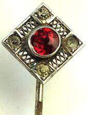 Art Nouveau Sterling & Red Garnet Stick Pin Stickpin Lapel Pin Tie Pin Tie Tack