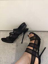 GUCCI Heels Shoes Tela Retino 900 Heel Suede & Mesh Straps Black 38.5 5.5UK