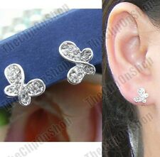 U COMFY CLIP butterfly CRYSTAL EARRINGS small fake studs SILVER PLTD rhinestone