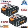 6.0Ah WA3520 For WORX WA3575 WA3578 WA3525 20V Max Lithium Battery WG155s WG160