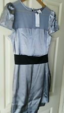 BNWT Womens Fuse By Preen Satin and Mesh Silver Belted Dress. Size 14.