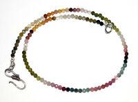 "925 Sterling Silver Multi Tourmaline Gemstone 3-3.5 mm Beads 18"" Strand Necklace"