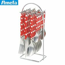 Amefa Eclat Red Polka Dot Cutlery Set 24 Piece with Hanging Storage Rack