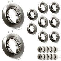 10er Set GU10 Einbauring Einbaurahmen LED Satin Nickel gebürstet Silber Optik
