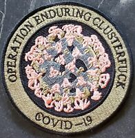 """3.5"""" Operation Enduring Clusterfuck Brown Embroidered Virus-19 Iron On Patch"""