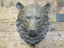 More details for brown bear head decoration gift display large 44 cm metal effect wall mounted
