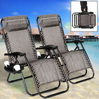 2 PCS Zero Gravity Chairs Folding Lounge Patio Beach Chairs With Cup Holders