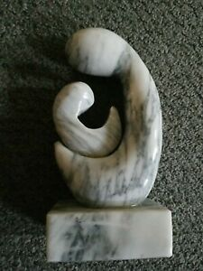 Gray/ Black Veined Marble Mother and Child Stone Sculpture Modern